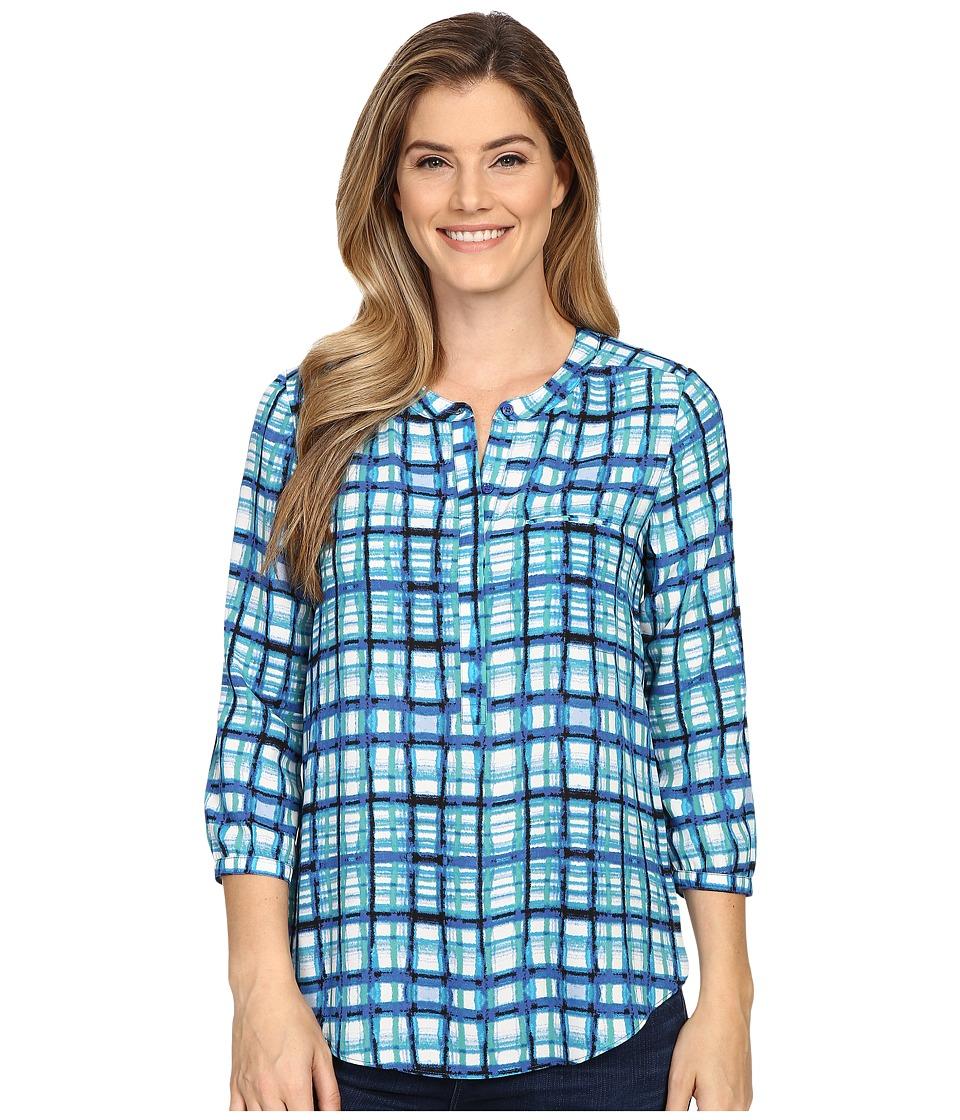 NYDJ - Solid 3/4 Sleeve Pleat Back (Aqualine Plaid) Women's Blouse