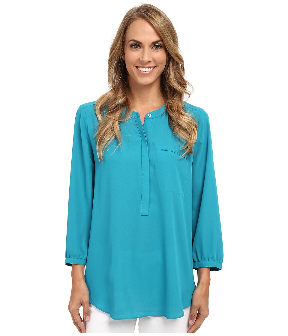 NYDJ - Solid 3/4 Sleeve Pleat Back (Turquoise) Women's Blouse