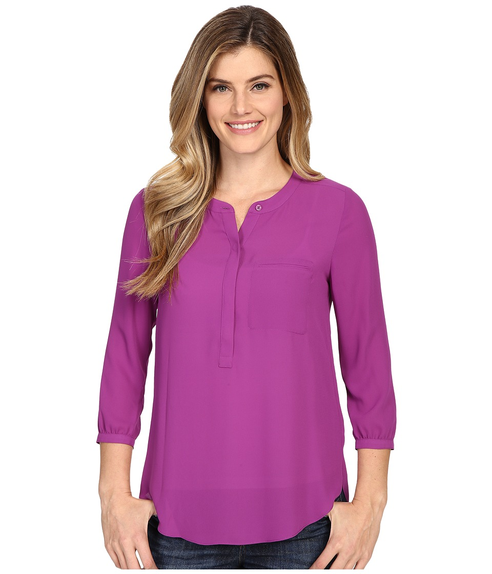 NYDJ - Solid 3/4 Sleeve Pleat Back (Violetta) Women's Blouse