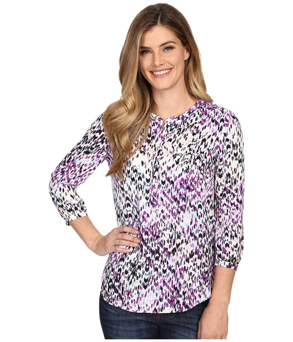 NYDJ - Solid 3/4 Sleeve Pleat Back (Dream On Chevron) Women's Blouse