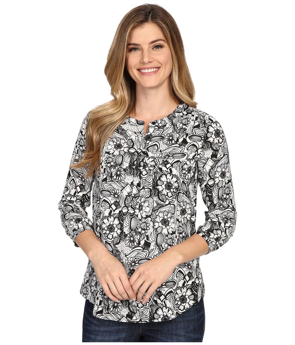 NYDJ - Solid 3/4 Sleeve Pleat Back (Fleetwood Floral) Women's Blouse