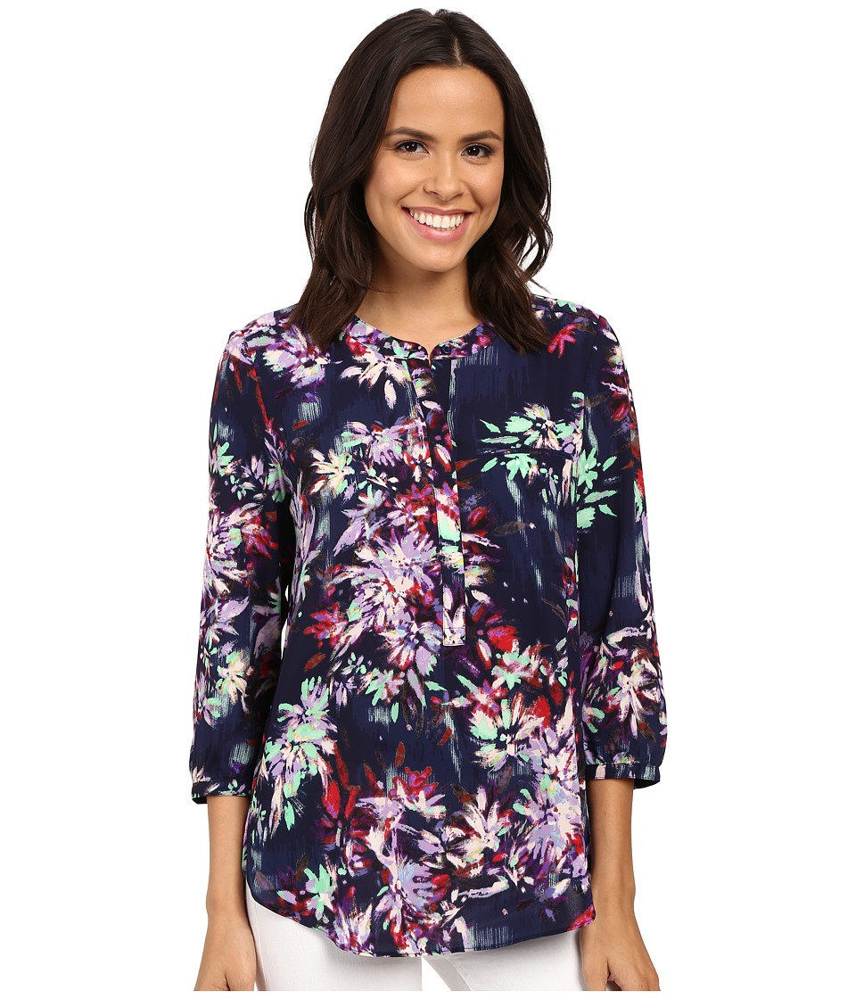 NYDJ - Solid 3/4 Sleeve Pleat Back (Fireworks Floral) Women's Blouse