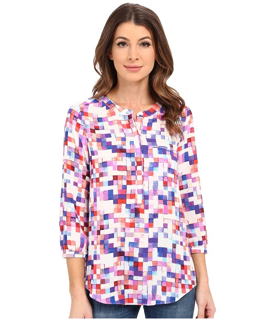 NYDJ - Solid 3/4 Sleeve Pleat Back (Fire and Rain Pixels) Women's Blouse