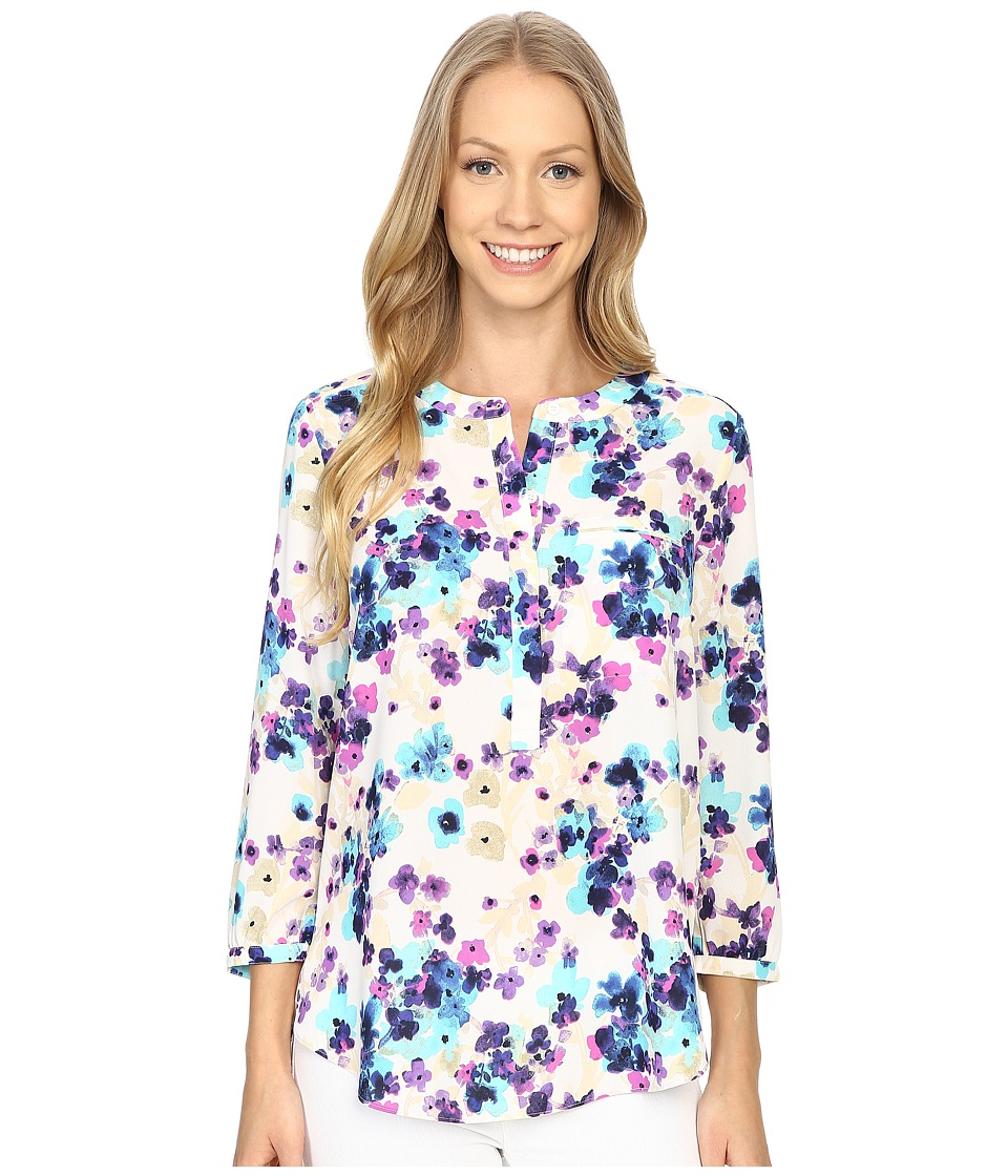 NYDJ - Solid 3/4 Sleeve Pleat Back (Fuji Floral) Women's Blouse