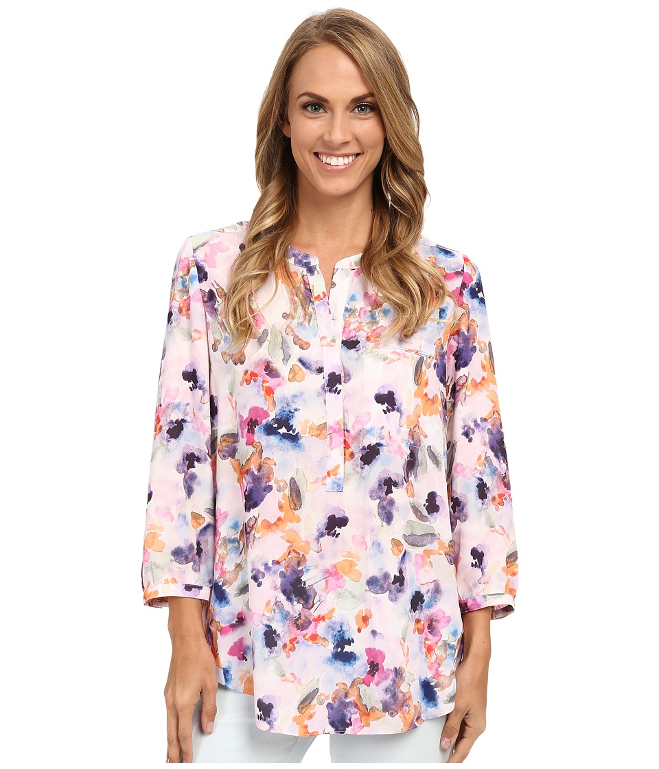 NYDJ - Solid 3/4 Sleeve Pleat Back (Spring Tide Floral) Women's Blouse