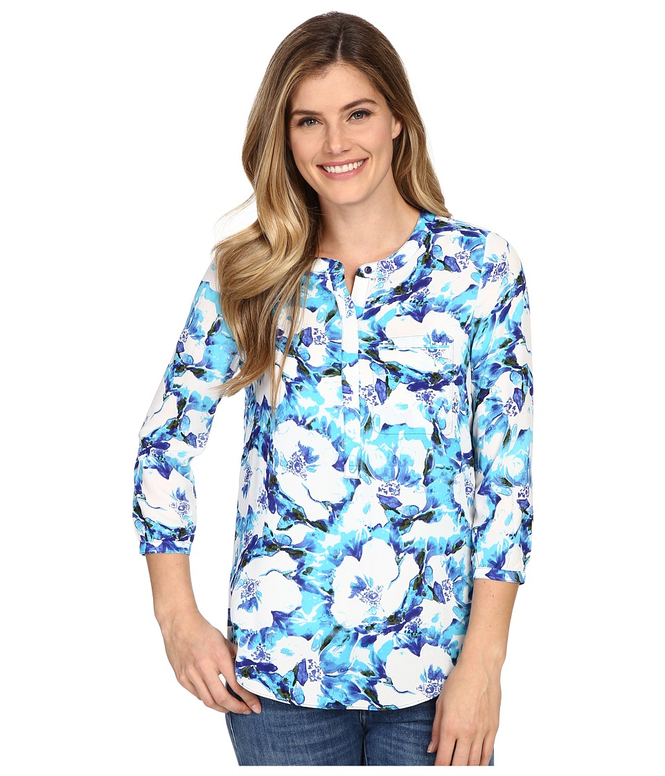NYDJ - Solid 3/4 Sleeve Pleat Back (Serenity Garden) Women's Blouse
