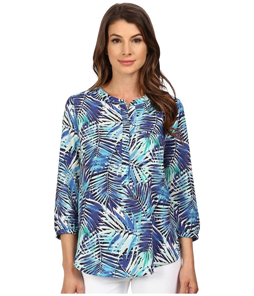NYDJ - Solid 3/4 Sleeve Pleat Back (Tropicana Leaves) Women's Blouse