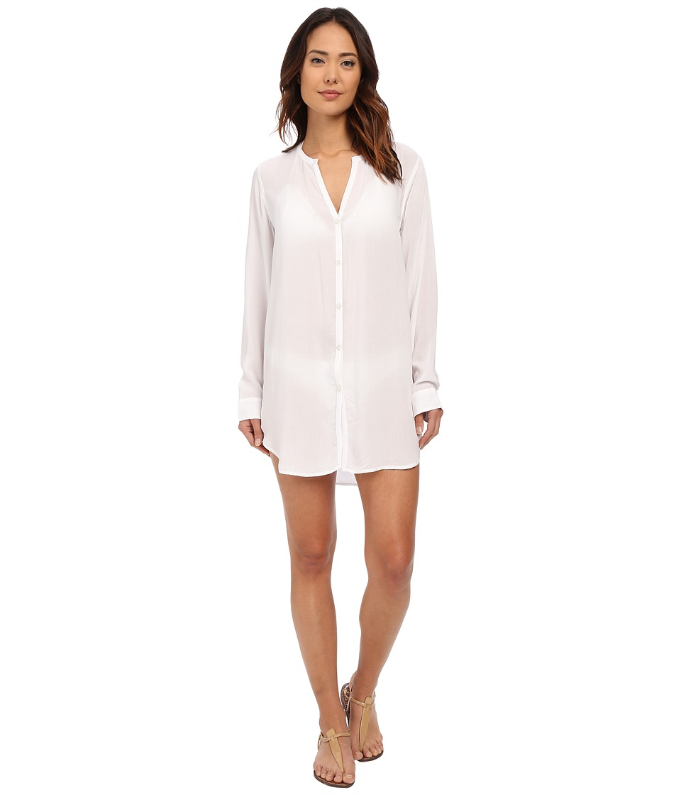 LAUREN Ralph Lauren - Cocktail Shirt Tail Tunic Cover-Up (White) Women's Swimwear