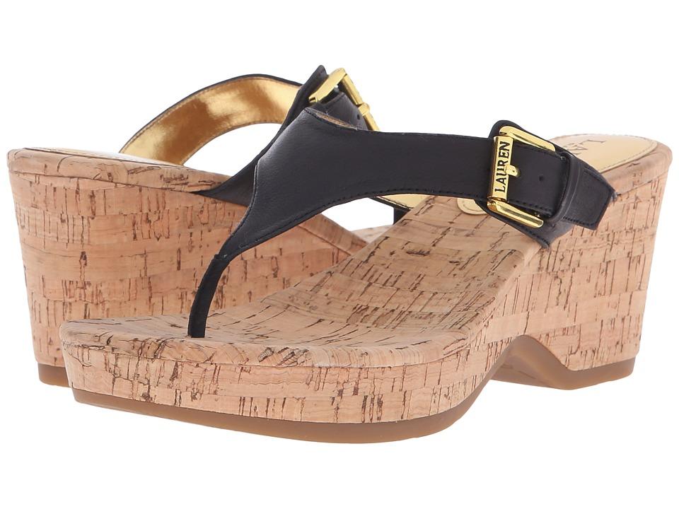 LAUREN Ralph Lauren - Oralee (Black Tumbled Burn Nappa) Women's Sandals
