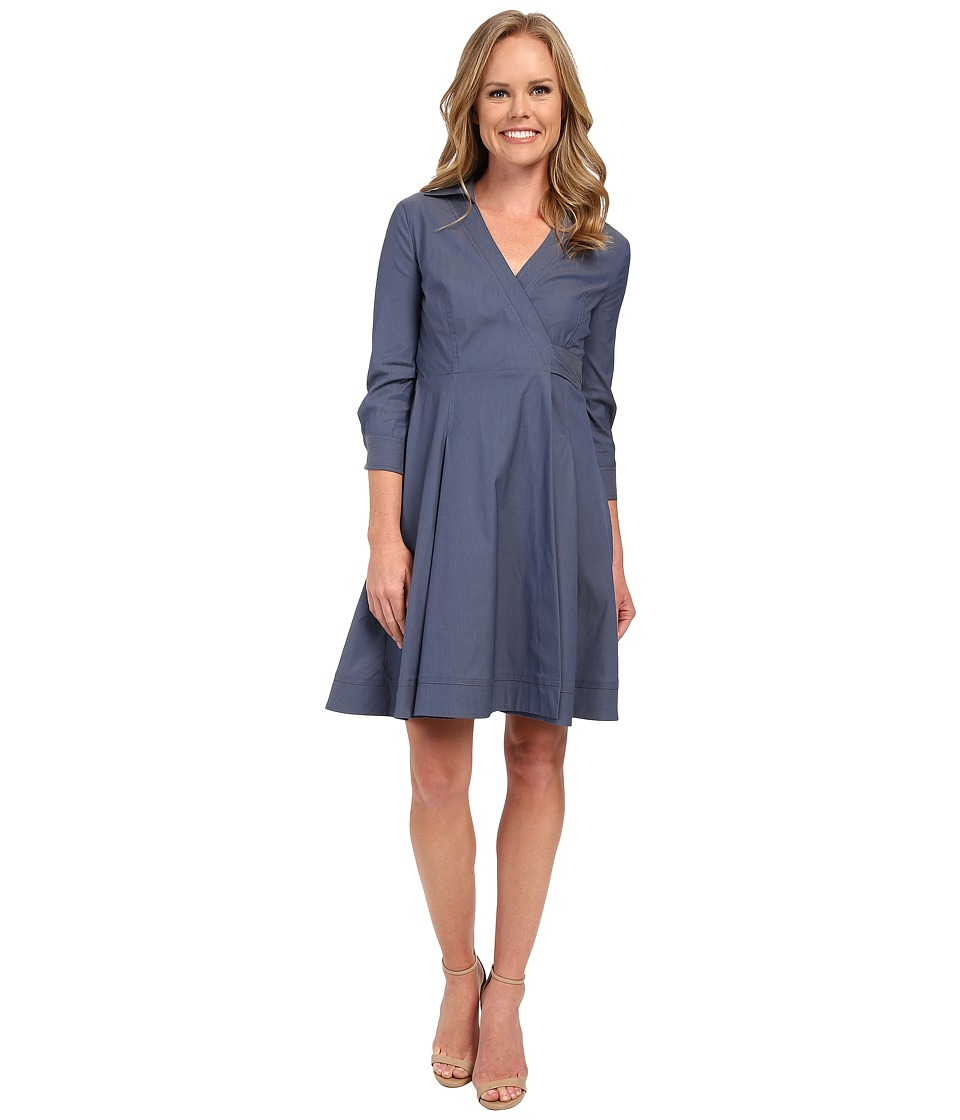 NYDJ - Cotton Poplin Shirt Dress (Indigo Haze) Women's Dress