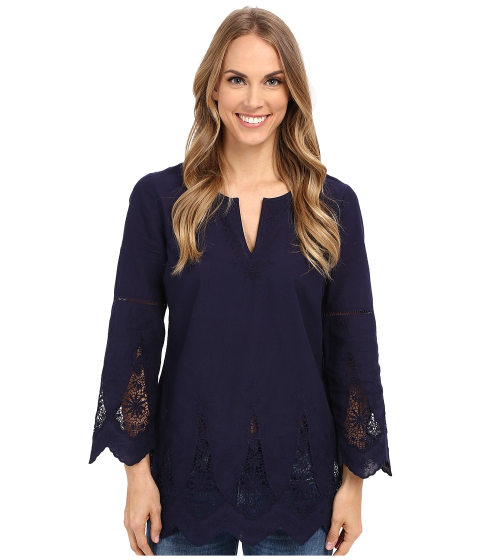 NYDJ - Embroidered Eyelet Tunic (Indigo) Women's Long Sleeve Pullover