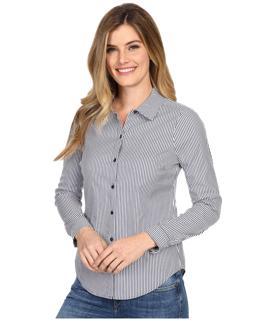 NYDJ - Fit Solution Woven Top (Indigo Stripe) Women's Clothing