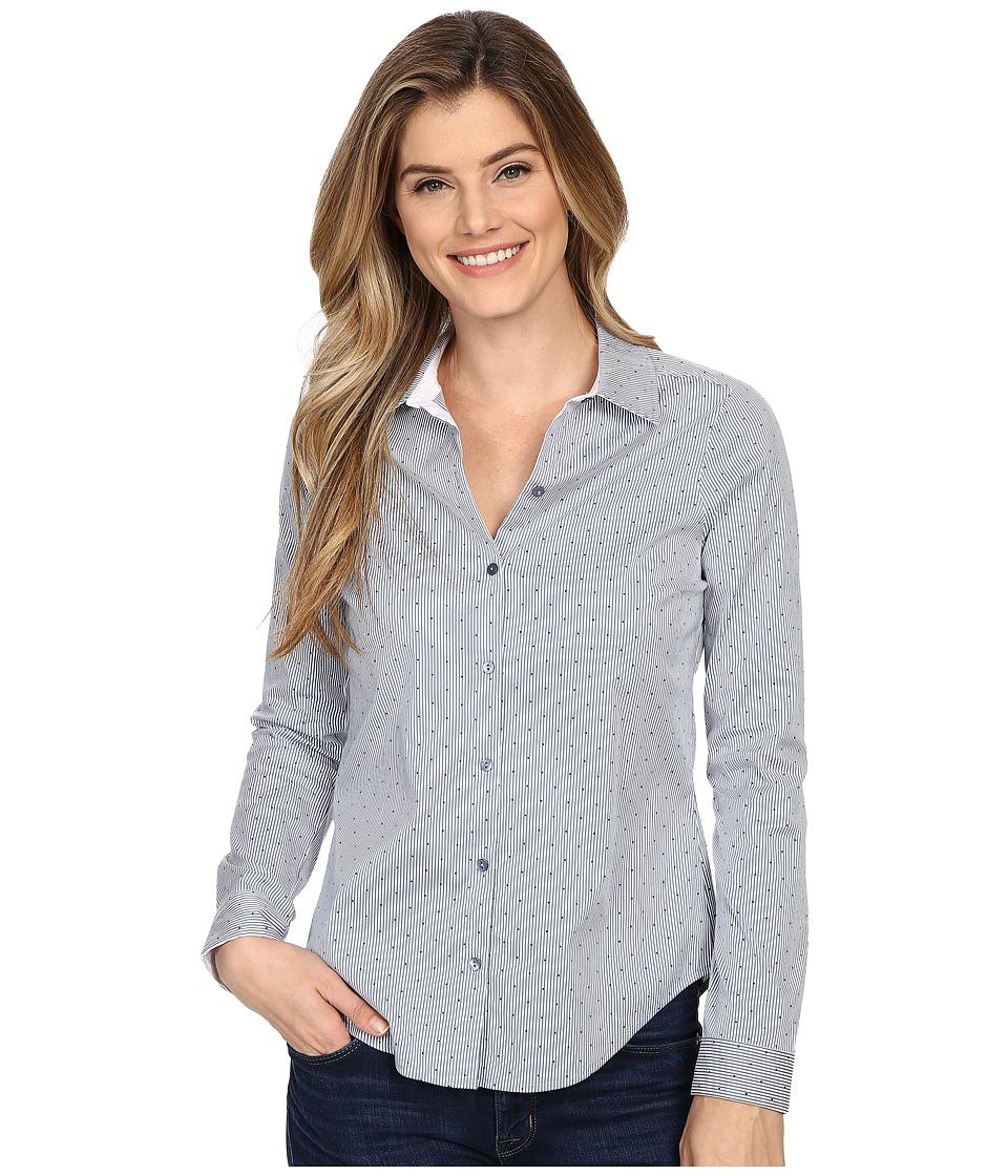 NYDJ - Fit Solution Woven Top (Indigo Polka Dot) Women's Clothing