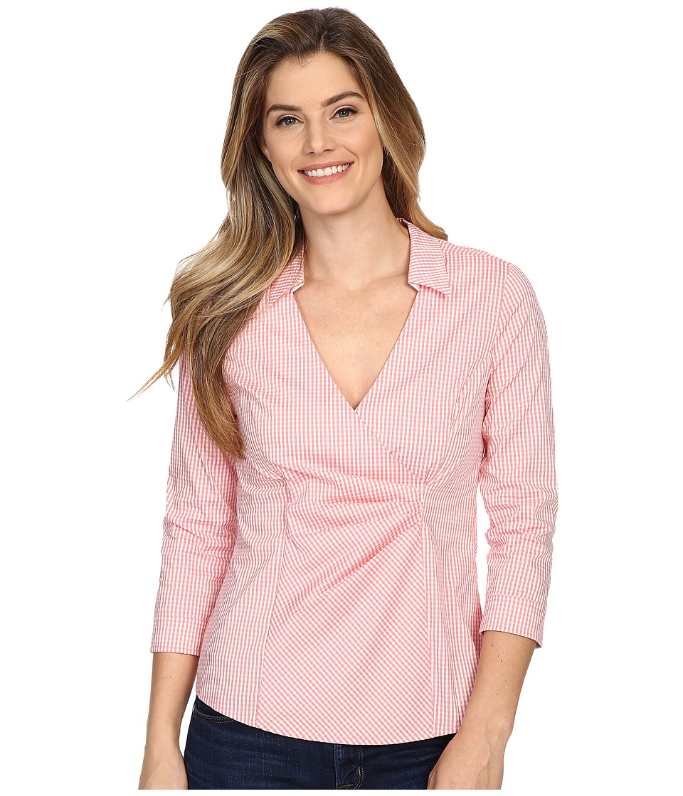 NYDJ - Gingham Shirting Fit Solution (Guava) Women's Blouse