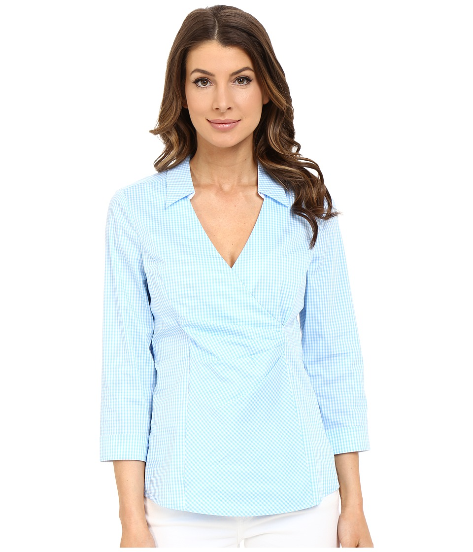 NYDJ - Gingham Shirting Fit Solution (Bella Blue) Women's Blouse