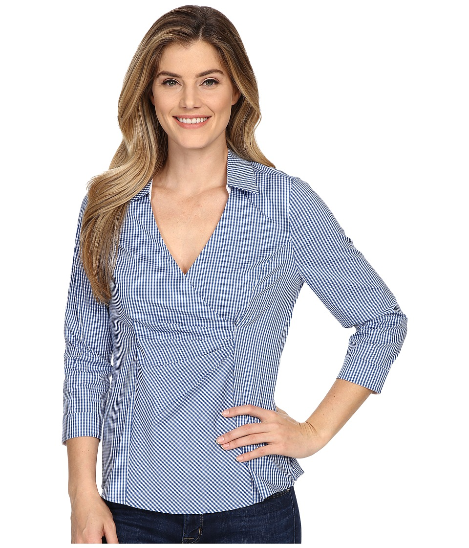 NYDJ - Gingham Shirting Fit Solution (Indigo Haze) Women's Blouse
