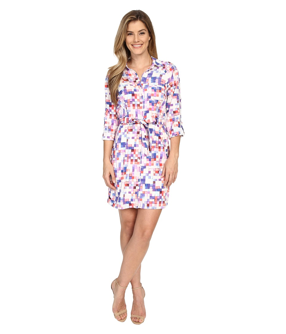 NYDJ - Kelsie Washed Crepe De Chine Shirtdress (Fire and Rain Pixels) Women's Dress