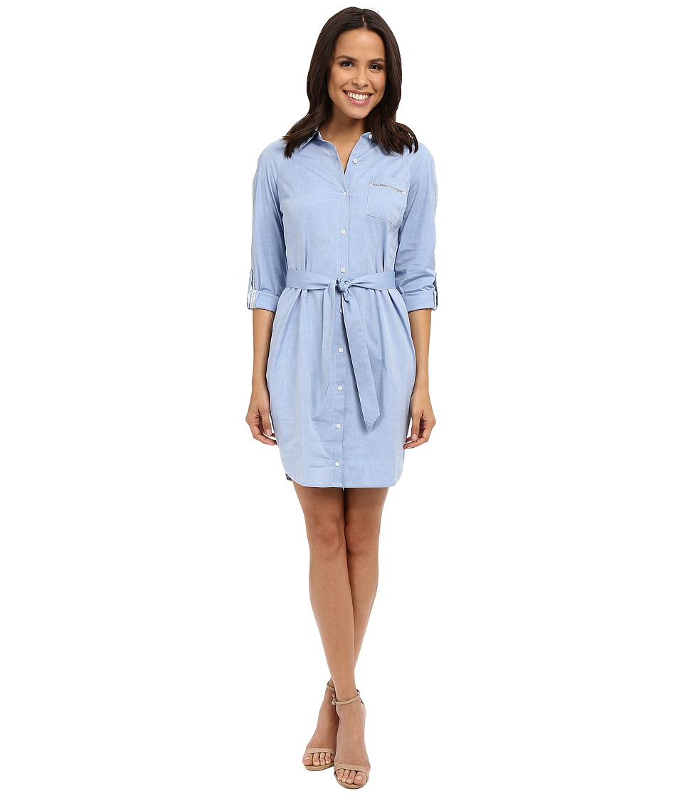 NYDJ - Kaylin Chambray Shirt Dress (Pale Blue) Women's Dress