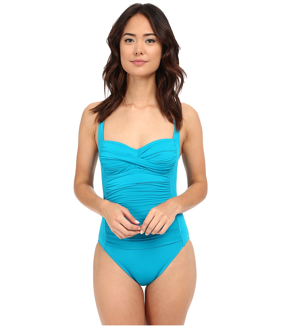 La Blanca - Island Goddess Over the Shoulder Sweetheart Mio One-Piece (Teal) Women's Swimsuits One Piece