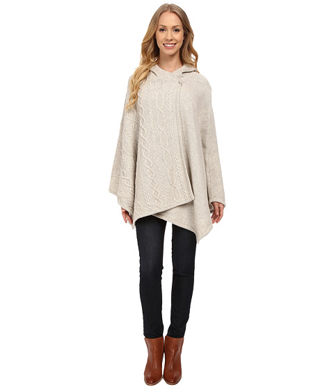 Pendleton - Cable Trim Cape (Ivory Heather) Women's Clothing