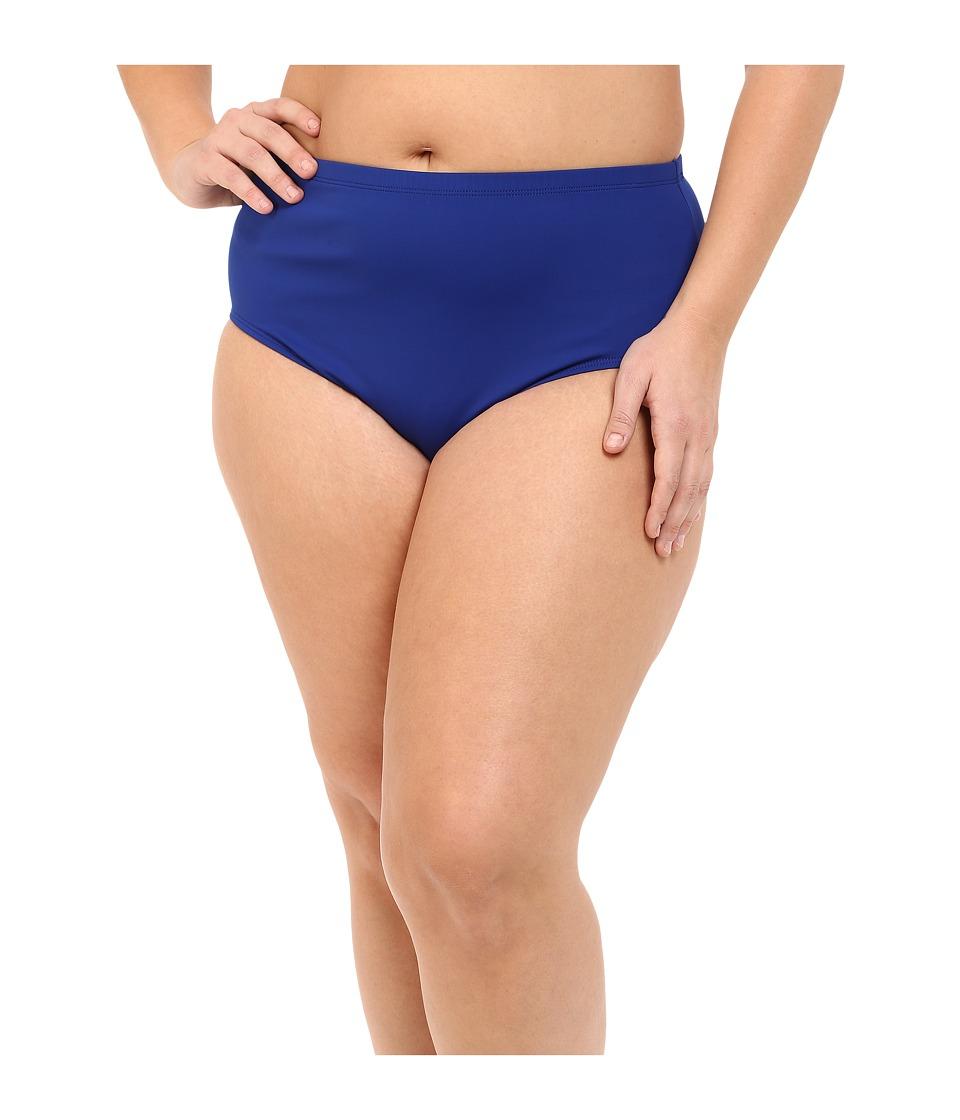 LAUREN Ralph Lauren Plus Size Beach Club Solids Solid High Waist Hipster Bottoms (Ocean) Women