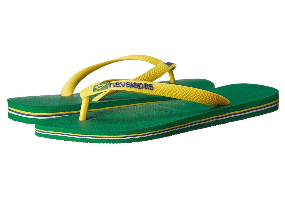 Havaianas - Brazil Logo Flip Flops (Green) Men's Sandals