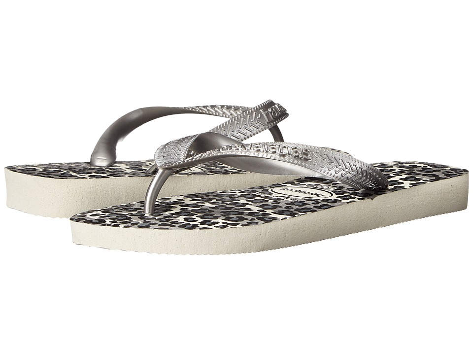 Havaianas - Top Animals Flip Flops (White/Silver) Women's Sandals