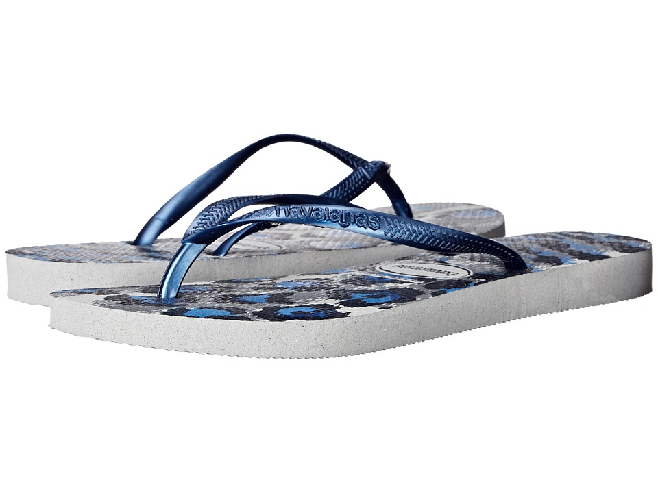 Havaianas Slim Animals Flip Flops (Ice Grey/Navy Blue) Women