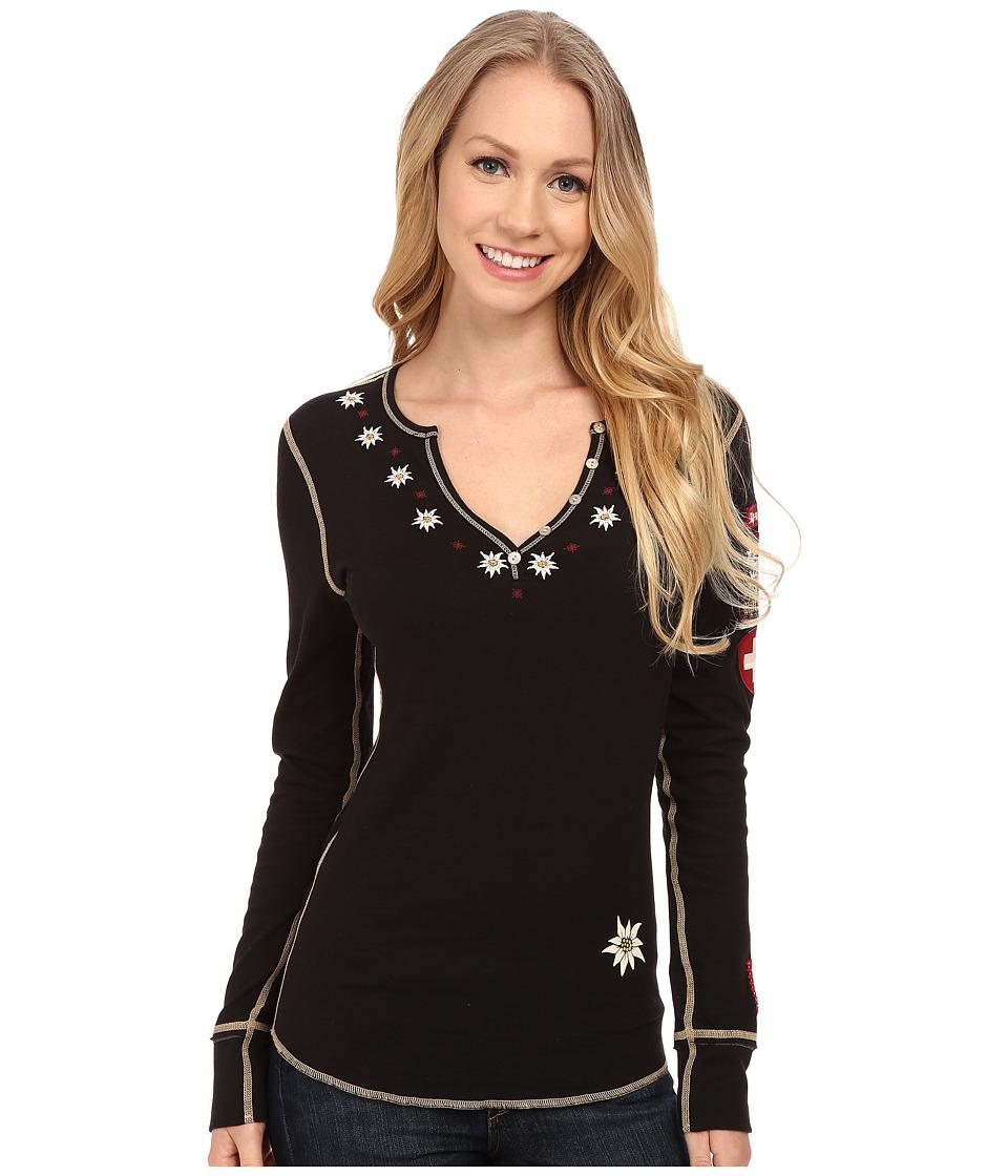 Alp-n-Rock - Edelweiss II Henley (Black) Women's Long Sleeve Pullover