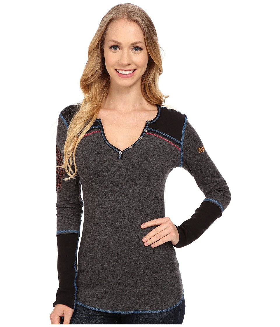 Image of Alp-n-Rock - Makai Henley (Heather Black) Women's Long Sleeve Pullover