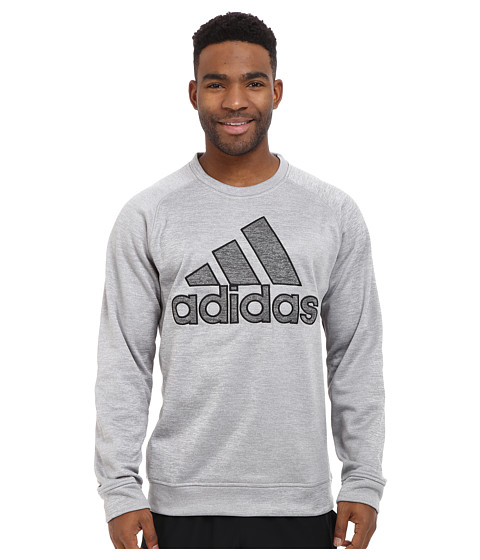 adidas - Team Issue Fleece Appliqu Logo Crew (Medium Grey Heather Solid Grey) Men