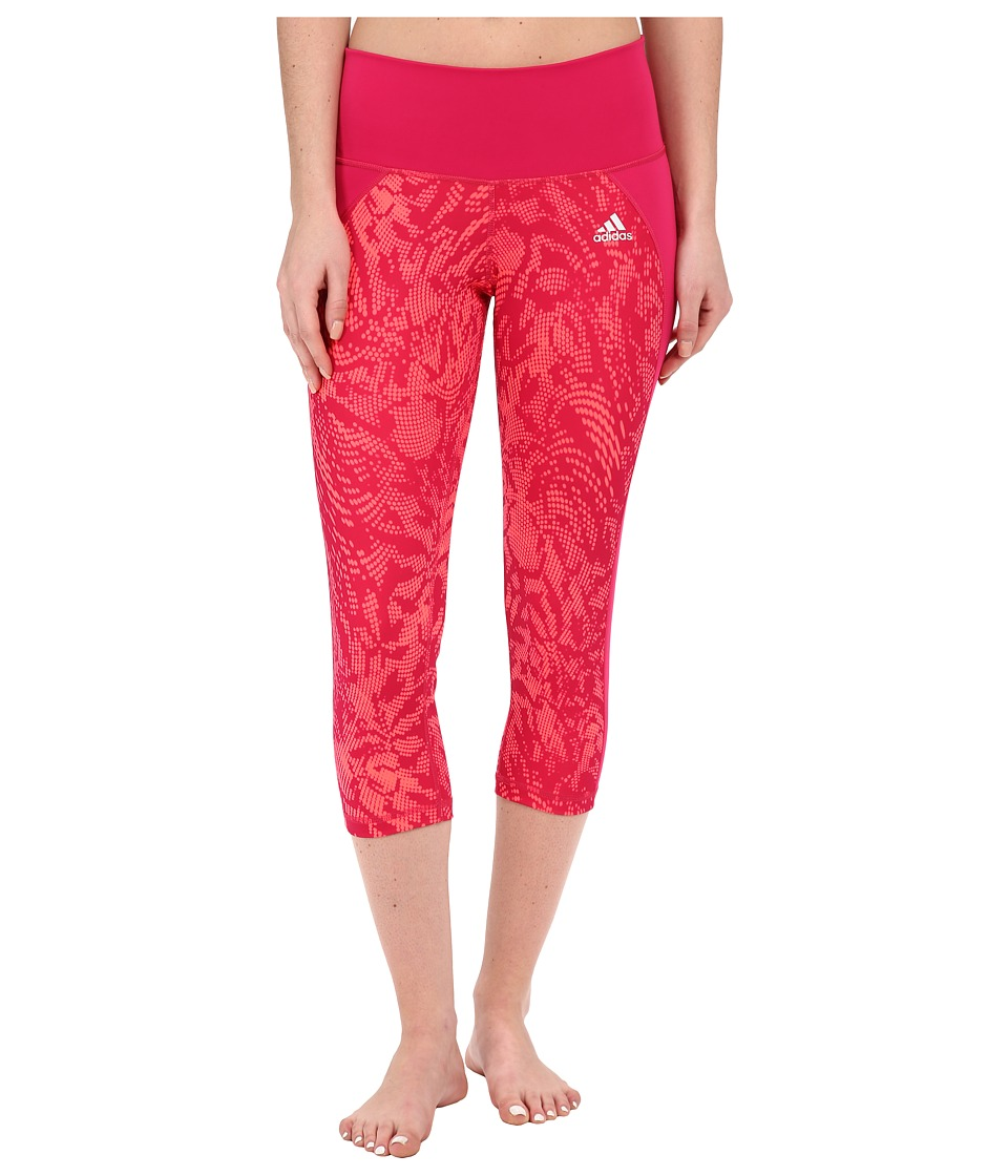 adidas - Performer Mid-Rise 3/4 Tights - Poison Ivy Print (Bold Pink) Women's Casual Pants