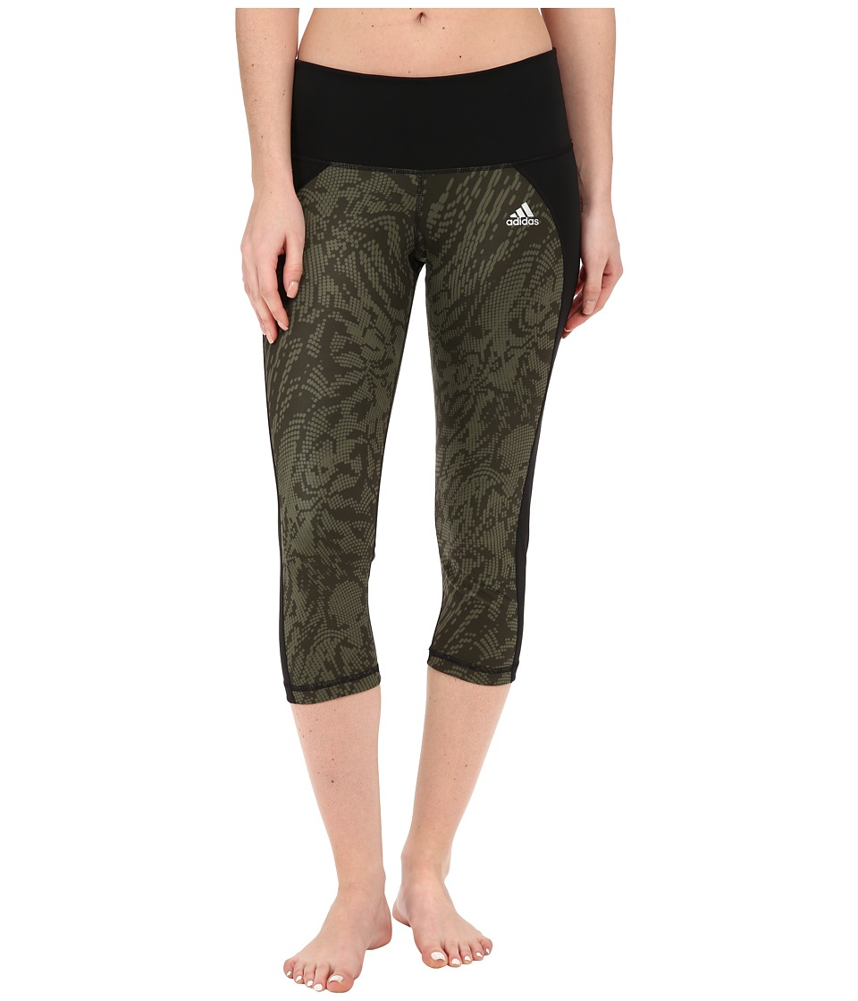 adidas - Performer Mid-Rise 3/4 Tights Poison Ivy Print (Base Green) Women's Casual Pants