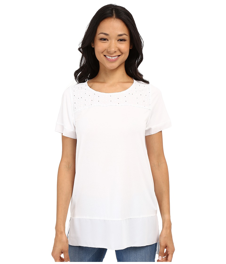 NYDJ - Mixed Media Knit Top (Optic White) Women's Short Sleeve Knit