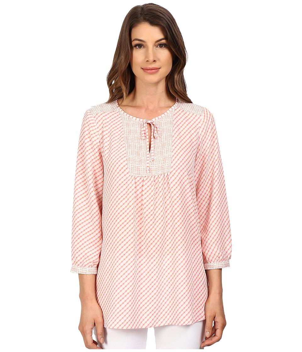 NYDJ - Mixed Print Peasant Blouse (Tea Time Plaid) Women's Blouse plus size,  plus size fashion plus size appare