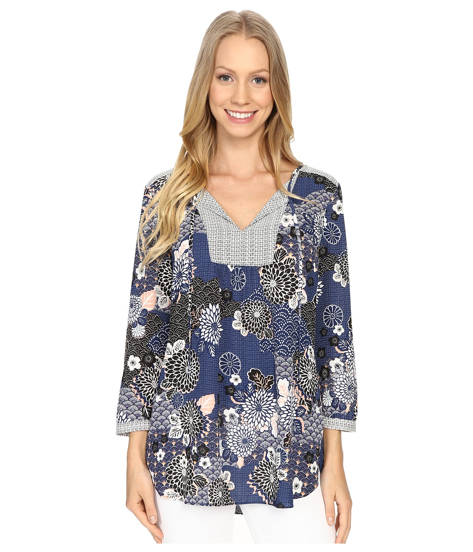 NYDJ - Mixed Print Peasant Blouse (Zen Garden) Women's Blouse
