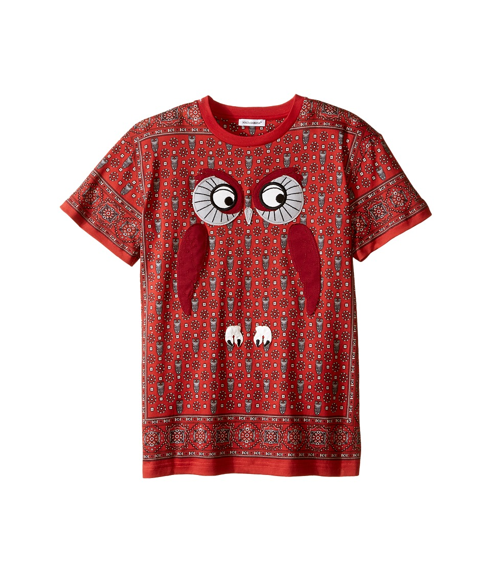 Dolce & Gabbana Kids - Owl T-Shirt (Big Kids) (Red) Boy's Short Sleeve Pullover