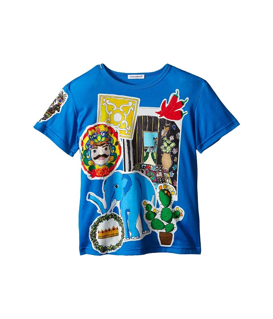 Dolce & Gabbana Kids - Patched T-Shirt (Toddler/Little Kids) (Blue) Boy's T Shirt