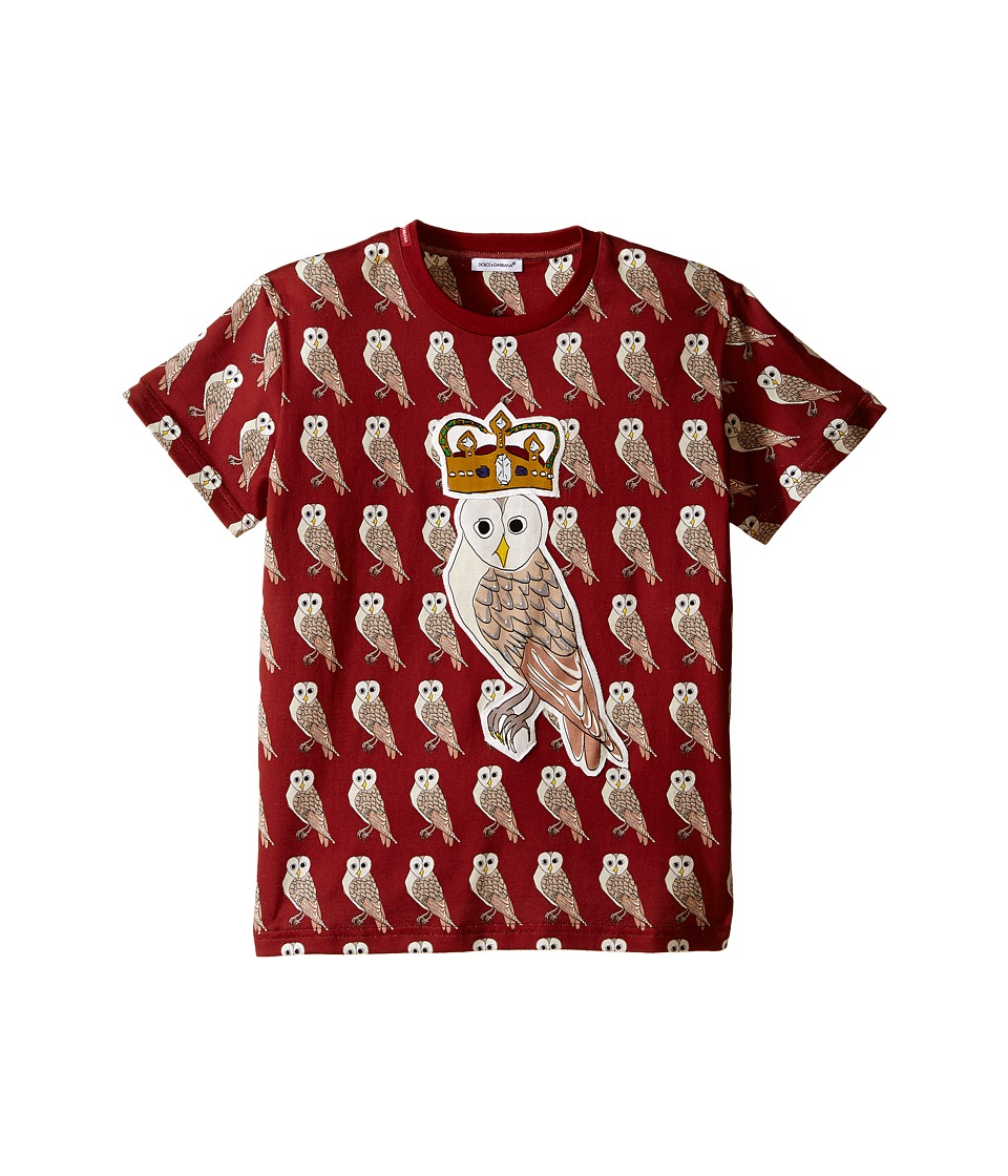 Dolce & Gabbana Kids - Owl King T-Shirt (Big Kids) (Red) Boy's Short Sleeve Pullover