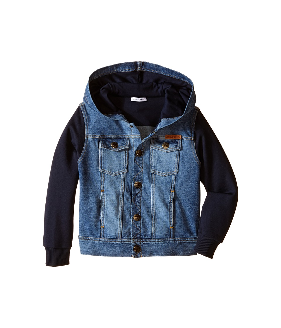 Dolce & Gabbana Kids - Denim/Sweat Hoodie (Toddler/Little Kids) (Blue) Boy's Jacket