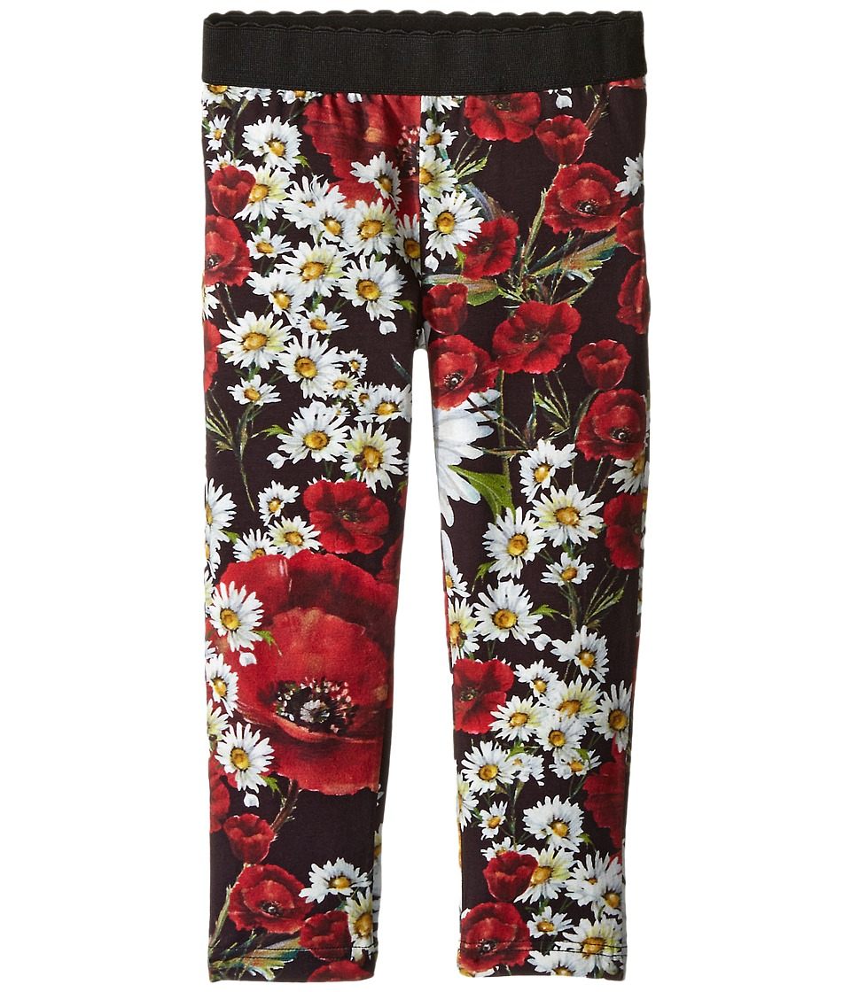 Dolce & Gabbana Kids - Fiori Leggings (Toddler/Little Kids) (Black Flower Print) Girl's Casual Pants