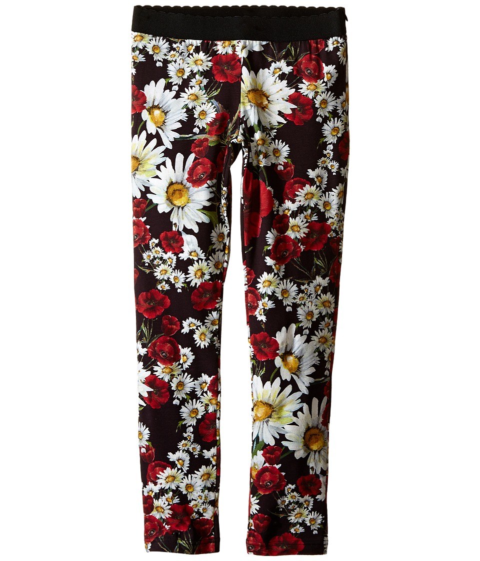 Dolce & Gabbana Kids - Fiori Leggings (Big Kids) (Black Flower Print) Girl's Casual Pants