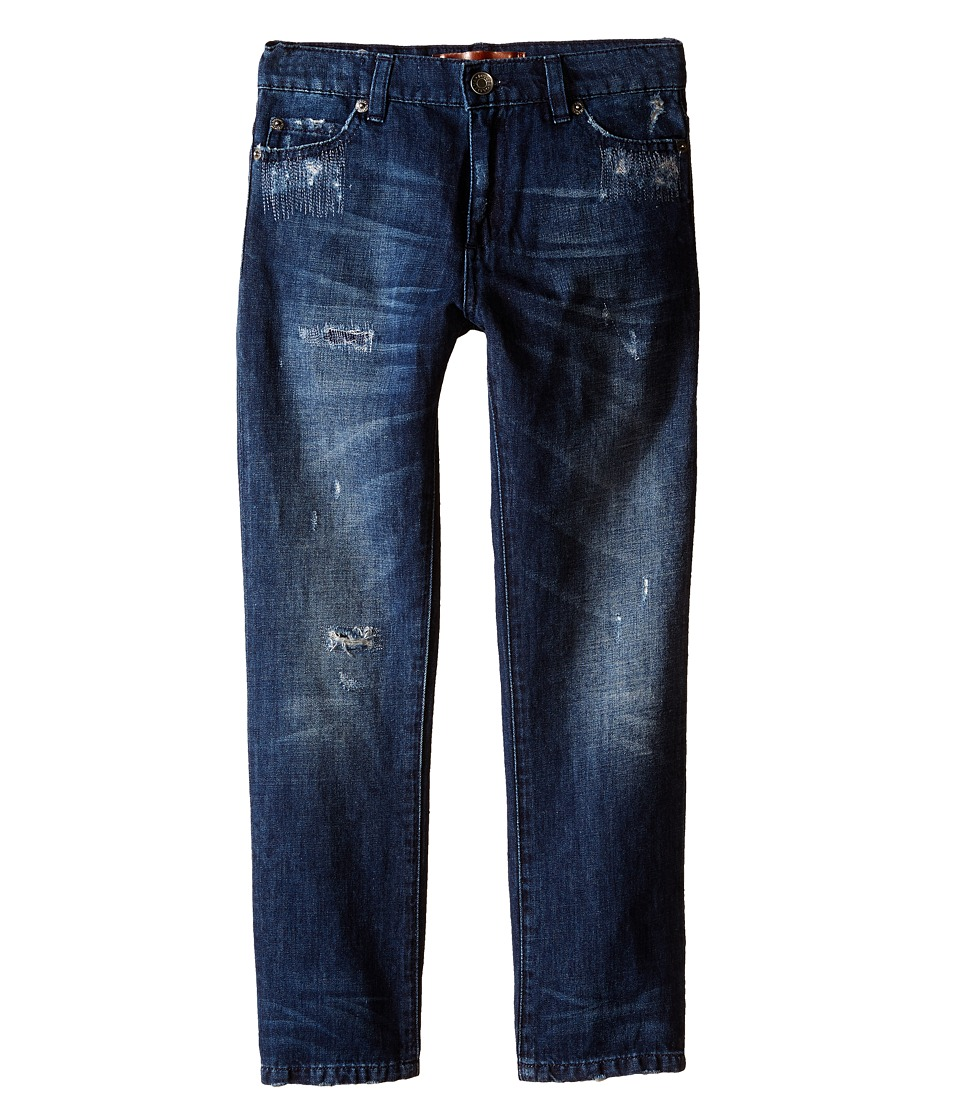 Dolce & Gabbana Kids - Relaxed Distressed Denim in Medium Blue (Big Kids) (Medium Blue) Boy's Jeans