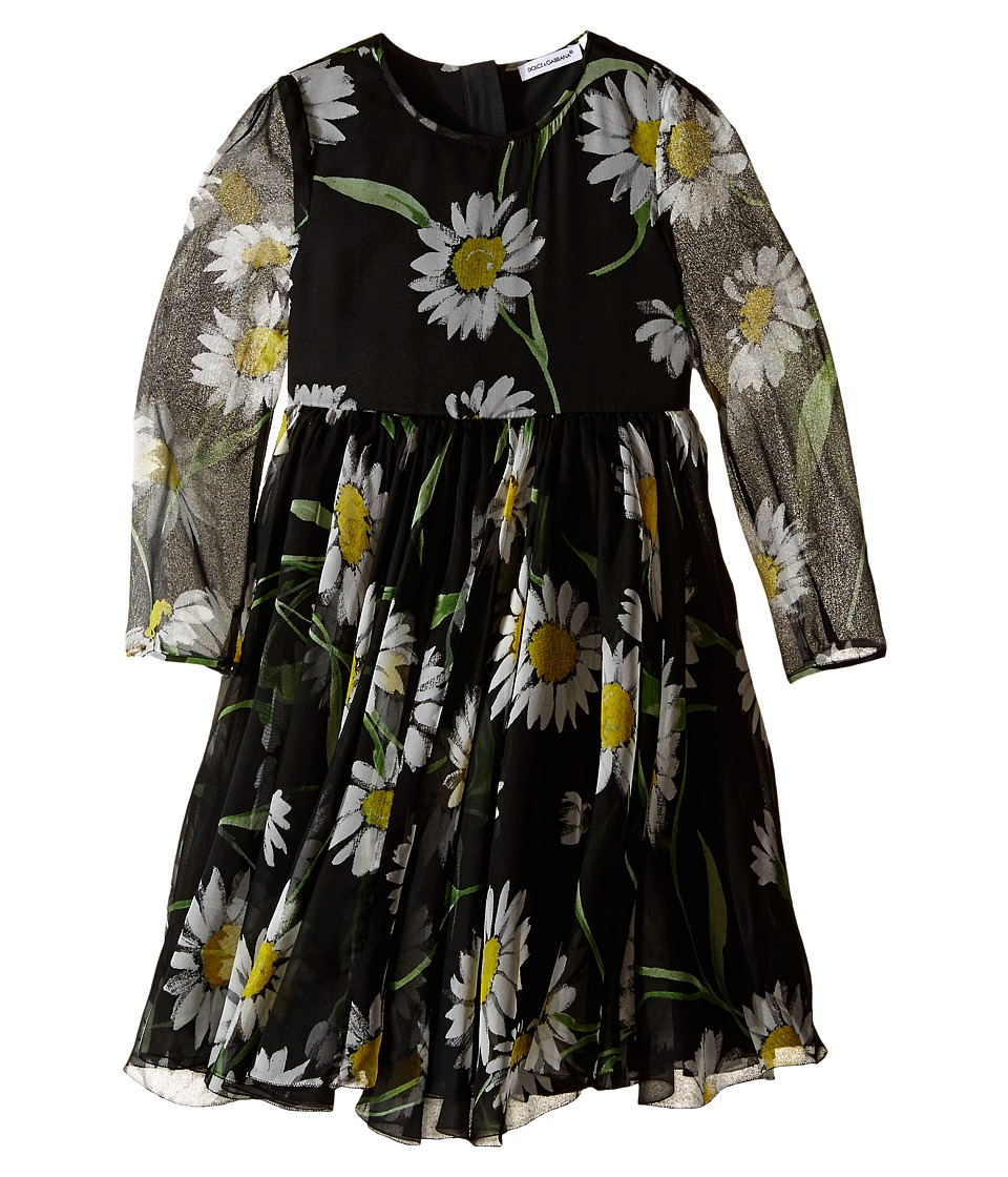 Dolce & Gabbana Kids - Margherite Chiffon Dress (Toddler/Little Kids) (Black Daisy Print) Girl's Dress