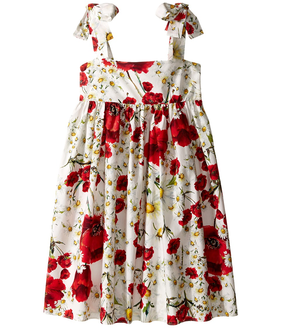 Dolce & Gabbana Kids - Fiori Dress (Big Kids) (White Flower Print) Girl's Dress