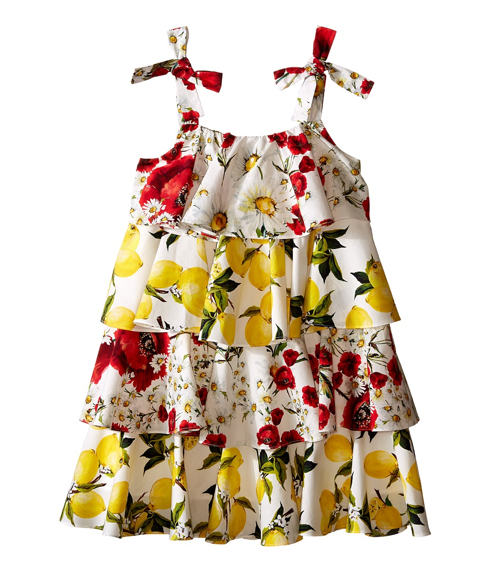 Dolce & Gabbana Kids - Margherita Ruffle Dress (Big Kids) (White Print) Girl's Dress