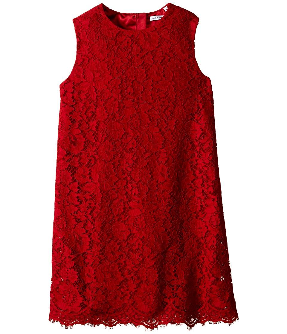 Dolce & Gabbana Kids - Lace Dress (Big Kids) (Bright Red) Girl's Dress