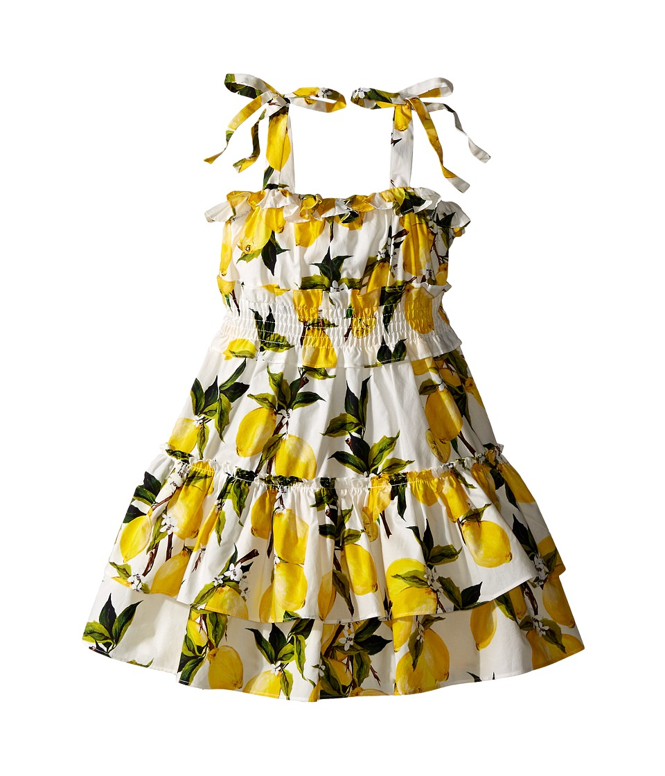 Dolce & Gabbana Kids - Limoni Poplin Dress (Toddler/Little Kids) (White/Lemon Print) Girl's Dress