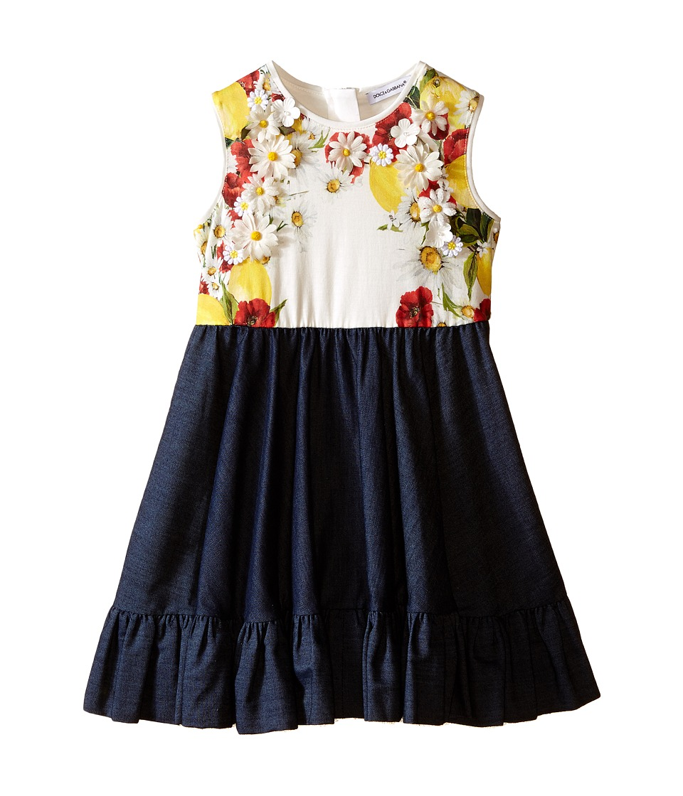 Dolce & Gabbana Kids - Fiori Denim Dress (Toddler/Little Kids) (Denim Print) Girl's Dress