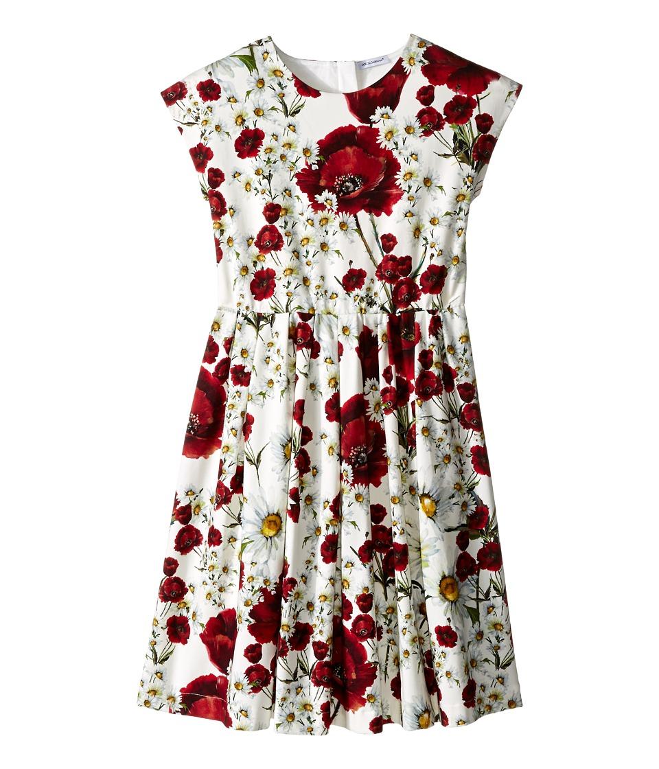 Dolce & Gabbana Kids - Fiori Poplin Interlock Dress (Big Kids) (White Flower Print) Girl's Dress